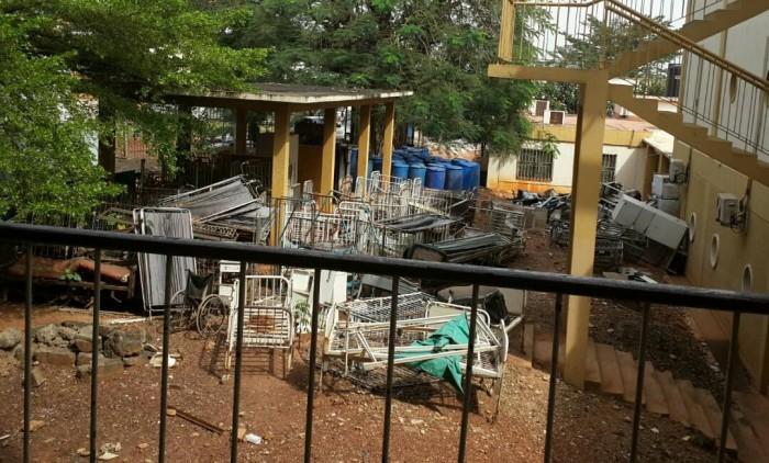 Abandoned broken beds rusting away